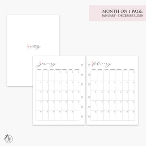 Month on 1 Page 2020 Pink - B6 Rings