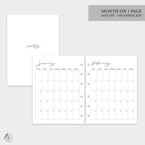 Month on 1 Page 2020 - B6 Rings