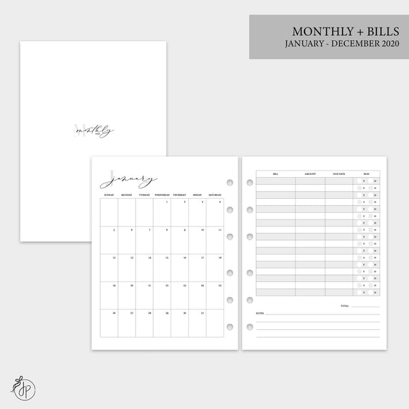 Monthly + Bills 2020 - B6 Rings