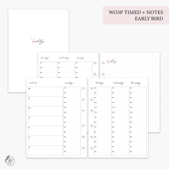 WO3P Timed Early Bird + Notes Pink - B6 Rings