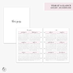Year at a Glance 2020 Pink - B6 Rings