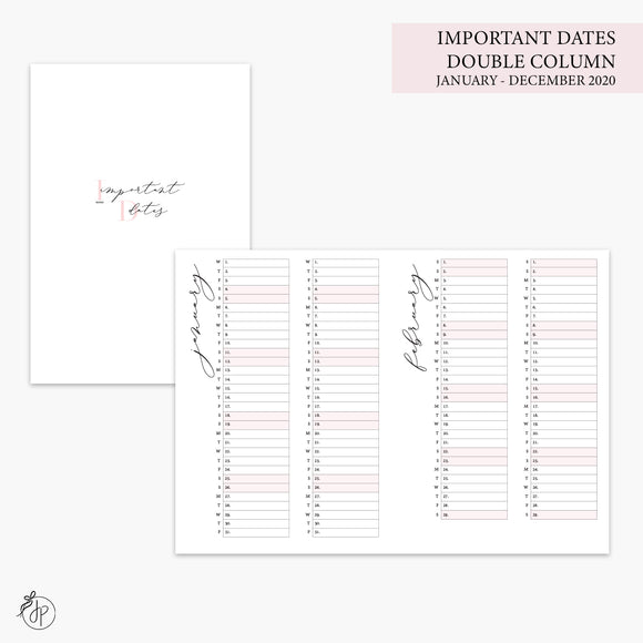 Important Dates Double Column 2020 Pink - B6 TN