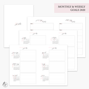 Monthly & Weekly Goals 2020 Pink - B6 TN