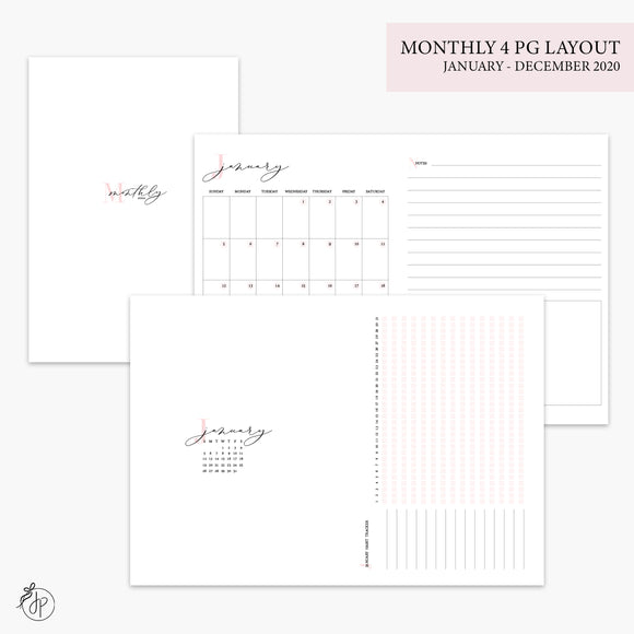 Monthly 4 Page Layout 2020 Pink - B6 TN