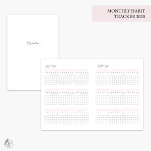 Monthly Habit Tracker 2020 Pink - B6 TN