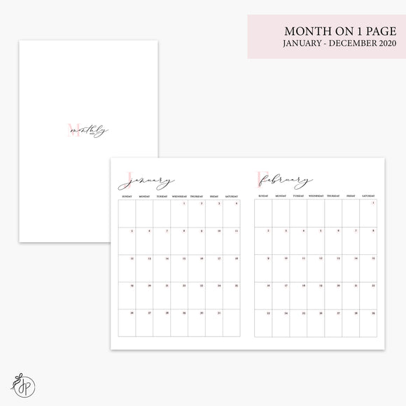 Month on 1 Page 2020 Pink - B6 TN