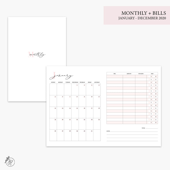 Monthly + Bills 2020 Pink - B6 TN