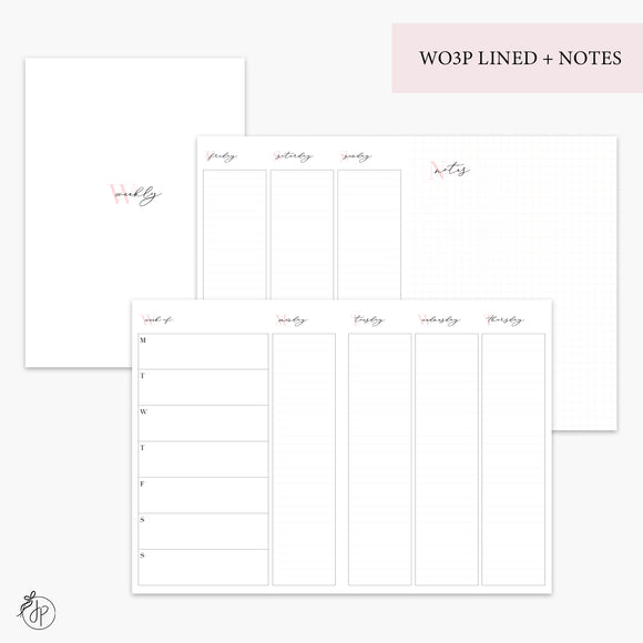 WO3P Lined + Notes Pink - B6 TN