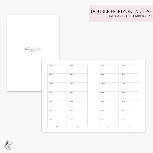 Double Horizontal on 1 Page 2020 Pink - B6 TN