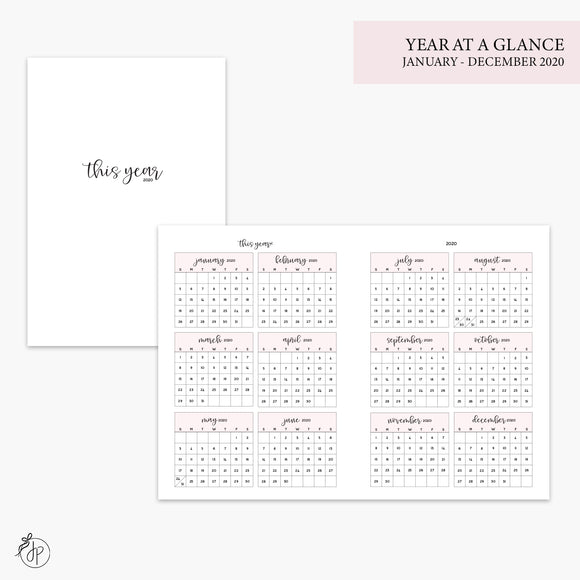 Year at a Glance 2020 Pink - B6 TN