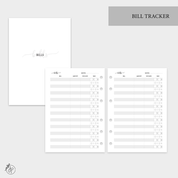 Bill Tracker - Personal Wide Rings