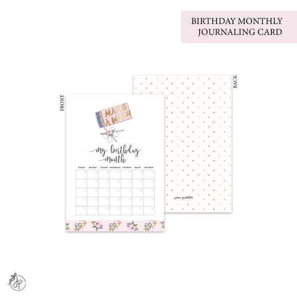 Birthday Month - Journaling Card