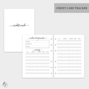 Credit Card Tracker - A5 Rings