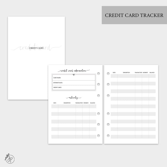 Credit Card Tracker - A6 Rings