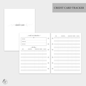 Credit Card Tracker - B6 Rings