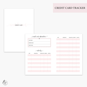 Credit Card Tracker Pink - A6 TN