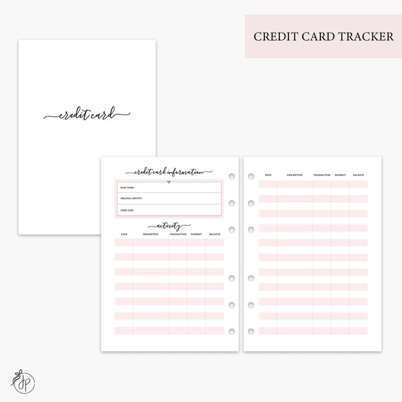Credit Card Tracker Pink - A5 Rings