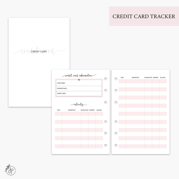 Credit Card Tracker Pink - A6 Rings
