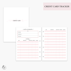 Credit Card Tracker Pink - B6 Rings