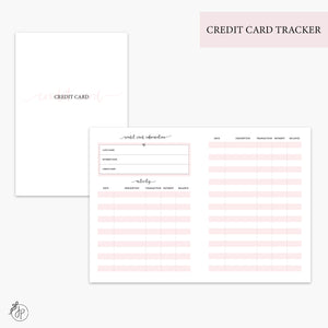 Credit Card Tracker Pink - B6 TN