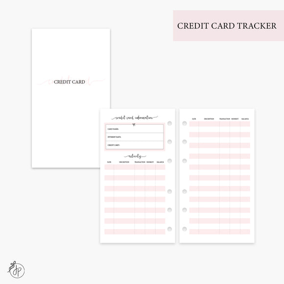 Credit Card Tracker Pink - Personal Rings