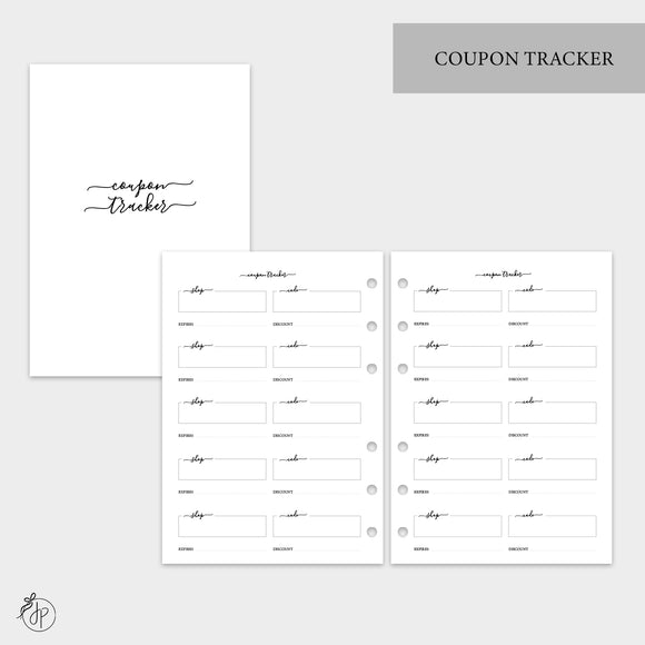 Coupon Tracker - A5 Rings