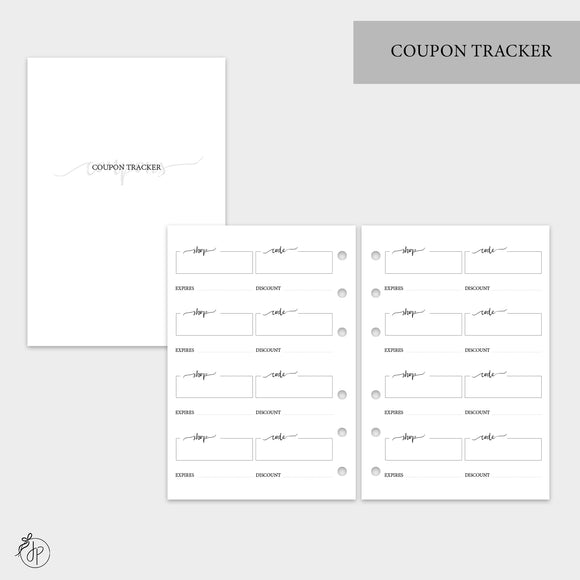 Coupon Tracker - A6 Rings