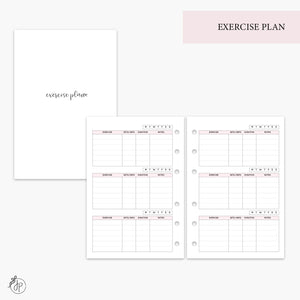 Exercise Plan Pink - A6 Rings
