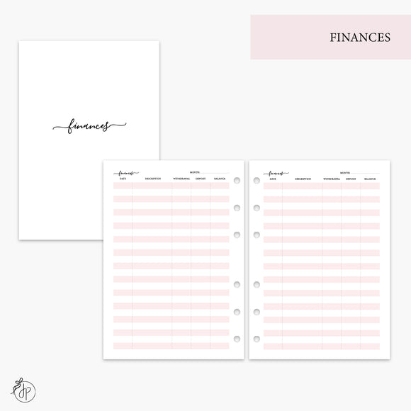 Finances Pink - A5 Rings