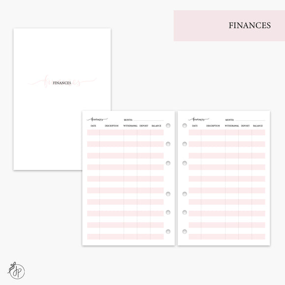 Finances Pink - A6 Rings