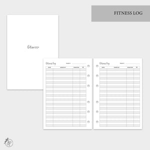 Fitness Log - A6 Rings