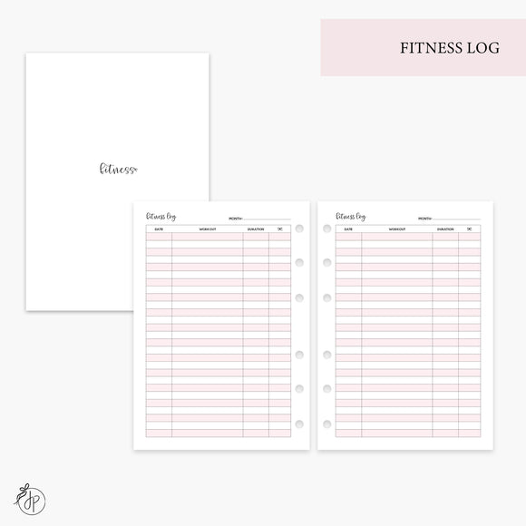 Fitness Log Pink - Personal Wide Rings