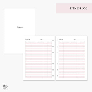 Fitness Log Pink - A5 Rings