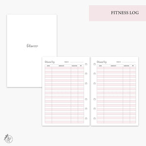 Fitness Log Pink - A6 Rings
