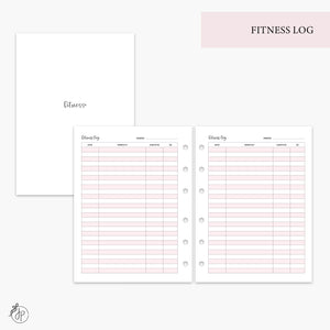 Fitness Log Pink - B6 Rings