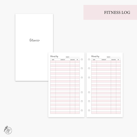 Fitness Log Pink - Personal Rings