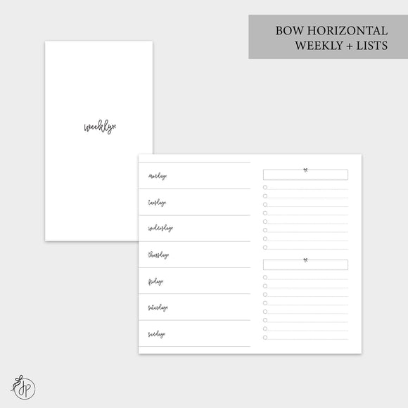 Bow Horizontal Weekly + Lists - Personal TN