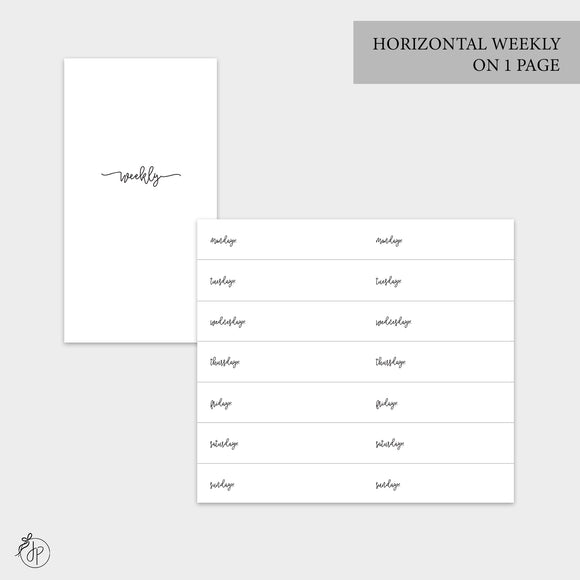 Bow Horizontal Weekly on 1 Page - Personal TN