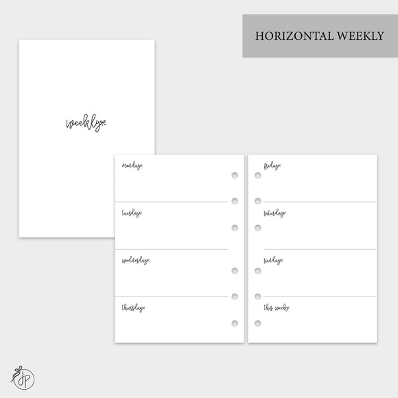 Bow Horizontal Weekly - A6 Rings