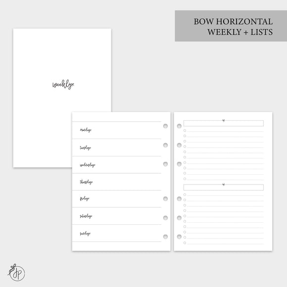 Bow Horizontal Weekly + Lists - A5 Rings