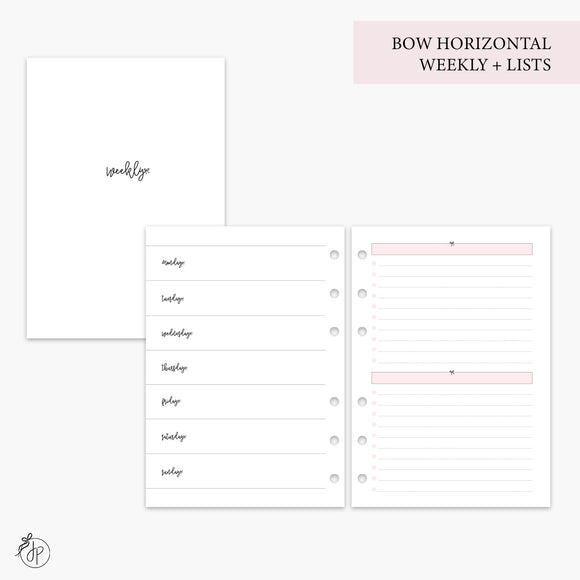 Bow Horizontal Weekly + Lists Pink - A5 Rings