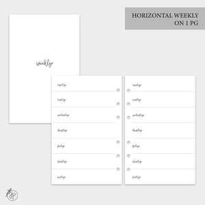 Bow Horizontal Weekly on 1 Page - Half Letter Rings