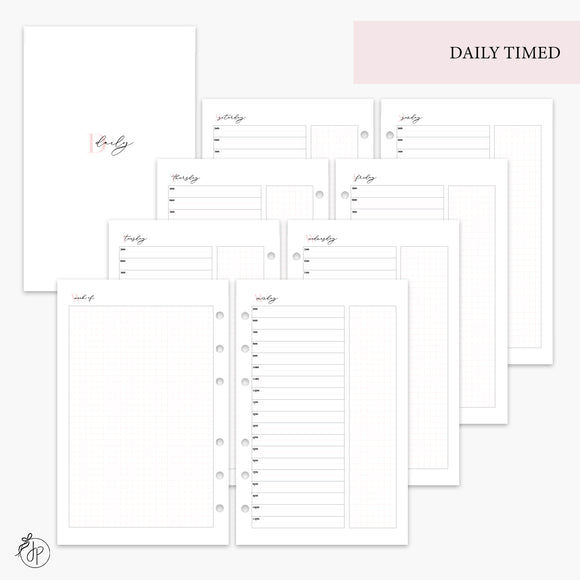 Daily Timed Pink - Half Letter Rings