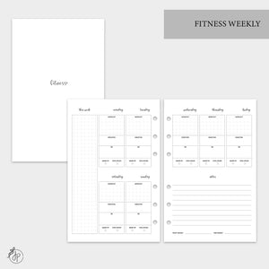 Fitness Weekly - Half Letter Rings