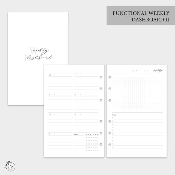 Functional Weekly Dashboard II - Half Letter Rings