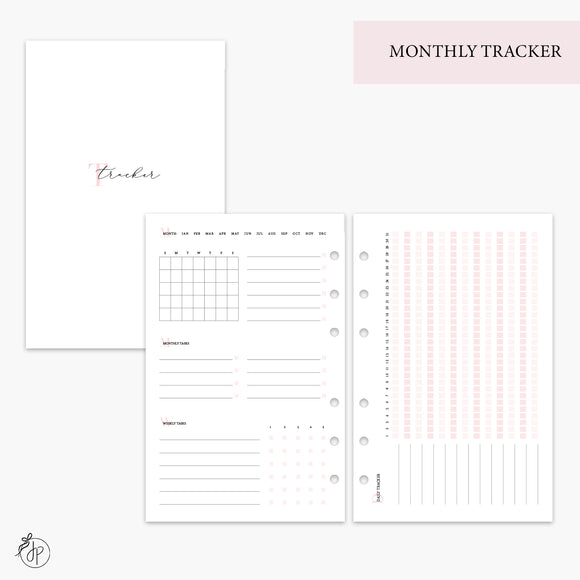 Monthly Tracker Pink - Half Letter Rings