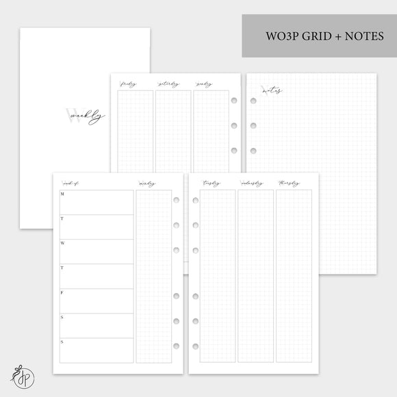WO3P Grid + Notes Grey - Half Letter Rings