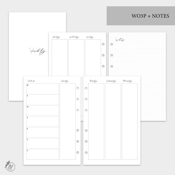 WO3P + Notes Grey - Half Letter Rings