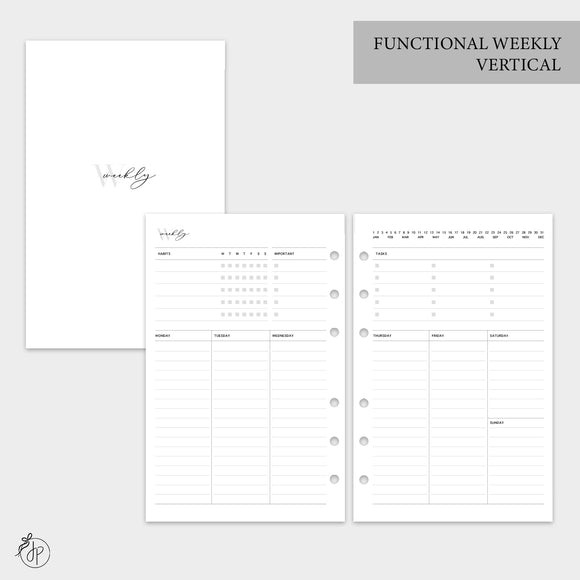 Functional Weekly Vertical - Half Letter Rings