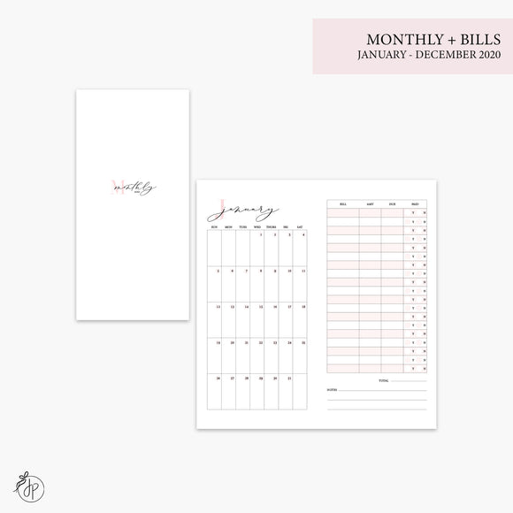 Monthly + Bills 2020 Pink - Hobo TN